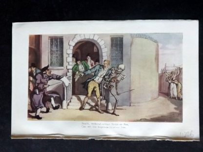 Rowlandson Dance of Death 1903 Antique Print. Death, without either Bribe or Fee